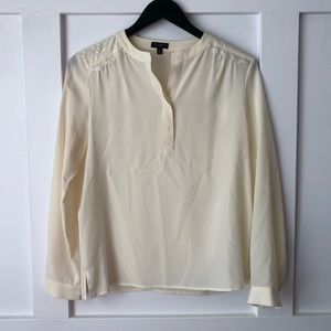 Talbots 100% Silk & Lace Cream Pullover Blouse